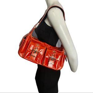 Danier Red Leather Shoulder Bag